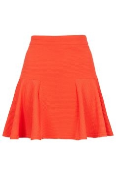 Topshop Red Ribbed Hip Skater Skirt