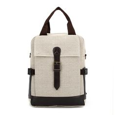 Canvas Leather Patchwork male Backpack Cover Vintage bags of Women Preppy Style Bag School Backpacks mochila bolsas W679