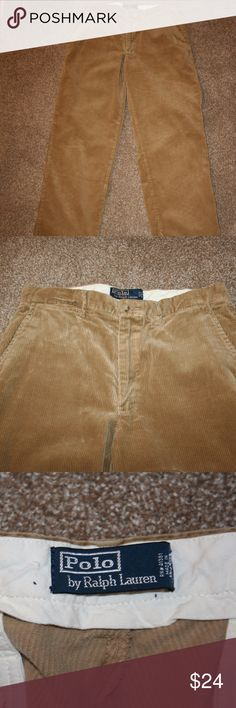 """POLO RALPH LAUREN Mens Corduroy Pants 32 x 29 1/2 Polo  Ralph Lauren  Excellent Condition - No Stains or Holes  Flat Front  Corduroy  Color:  Light Brown or Tan  Zipper With Button Closure  Two Front Pockets and Small Change Pocket  Two Rear Pockets     Waist:  32""""  Measured Laying Flat Along Top of Rear Waist Then Doubled Inseam:  29 1/2"""" (unstretched) NOTE:  Tag States Inseam of 30"""".  They are not. 100% Cotton Polo by Ralph Lauren Pants Corduroy"""