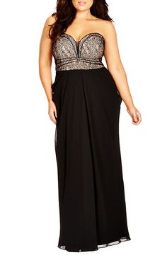 Free shipping and returns on City Chic 'Motown' Strapless Lace & Chiffon Maxi Dress (Plus Size) at Nordstrom.com. Contrast-lined lace wraps the molded strapless bodice of a stunning maxi dress that illuminates lovely décolletage with a deep sweetheart neckline accented with sleek piping. Softly draped chiffon overlays the long straight skirt for a romantic finish.