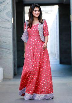 Amara - Peach Pink Flared Maxi with Shrug Long Dress Design, Dress Neck Designs, Stylish Dress Designs, Designs For Dresses, Salwar Designs, Kurti Designs Party Wear, Kalamkari Dresses, Ikkat Dresses, Stylish Dresses For Girls