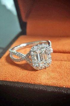 18 Eye-Catching Emerald Cut Engagement Ring #engagementrings