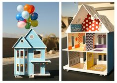 I need to decorate my dtr's playhouse like this! UP House! Cute Crafts, Diy Crafts, Diy For Kids, Crafts For Kids, Minis, Up House, House Front, Dollhouse Dolls, Dollhouse Ideas