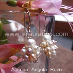 Aretes / Zarcillos en saco de perlas cultivadas. Curso de Joyería de ViviBlanco