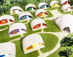 These colorful infatable concrete Dome Homes cost just $3500 - perfect for temporary shelter: http://bit.ly/1lOIJ56