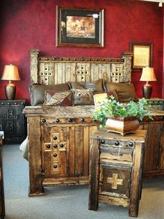 Awesome western furniture - love the wall paint too!