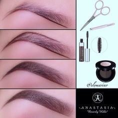 """outline the brow with eyebrow powder using an angled brush. Once the brow shape is outline, she filling in the brow using brow powder again. Last step is to set the eyebrow and hold the shape. Tinted Brow Gel in """"Espresso"""" this is a fixer with color."""