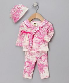 Take a look at this Pink Toile Organic Wrap Top Set - Infant by Barn Organics on #zulily today!