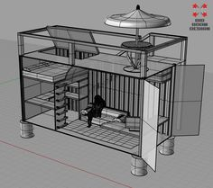 """20' shipping container... imagine with two loft beds and two desks. With a high ceiling container there would still be enough room under the lofts to completely stand. This would be the perfect shared """"bedroom"""" for two teens. They could each have their own area for work, and possibly even a small pull out couch."""