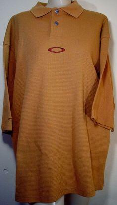 OAKLEY Men's Polo Golf Shirt Butterscotch 100% Cotton Size Large NWT #Oakley #PoloShirt