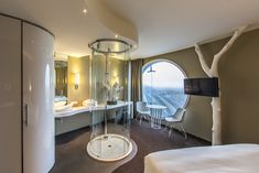 The Fletcher Hotel Amsterdam is the dominant landmark of the city of Amsterdam. The new Fletcher Hotel Amsterdam was designed by BenthemCrouwel. Modern Bathroom Design, Bathroom Interior Design, Modern Interior Design, Fletcher Hotel, Hotel Concept, Hotel Room Design, Hotels, Bar Lounge, Hotel Interiors