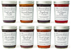 Louise Fili  infused sweet simplicity into the new packaging design for Bonnie's Jams. Typography took center stage for the label.