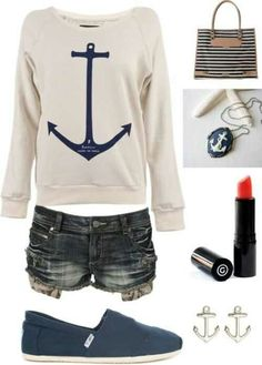 Summer Outfit Summer clothes i love anchors summer fashion Looks Style, Looks Cool, Style Me, Swag Style, Girl Style, Teen Fashion, Womens Fashion, Fashion Trends, Fashion Clothes