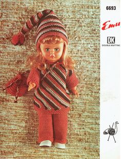 Items similar to PDF Vintage Doll Clothes Knitting Pattern Tunic Dress Trouser Suit Sleeping Stocking Cap Bag Teenage Doll Emu 6693 Stripes Groovy on Etsy Knitting Patterns, Crochet Patterns, Sindy Doll, Vintage Dolls, Vintage 70s, Retro Toys, Doll Clothes Patterns, Vintage Knitting, Miniature Dolls