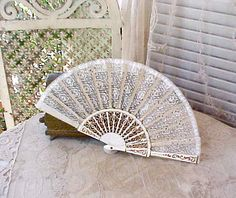 Elegant Antique Ladies Hand Fan with Hand Painted Sticks and Sequined Lace. $55.00, via Etsy.