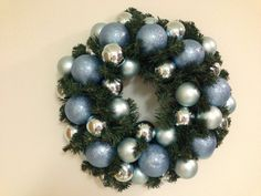 Blue sparkles and glitter wreath by Mary by bloominacres on Etsy, $60.00