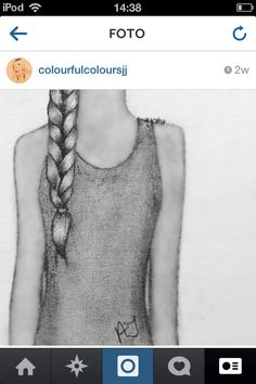 girl with a braided hair drawing