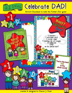 Printables & clipart for Father's Day by DJ Inkers.  Father's Day printables, family clip art, Dad, Father's Day cards, Happy Father's Day