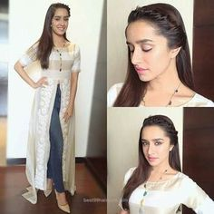 Rate The Look 1 Shraddha Kapoor Today's look for Bhaagi promotions. Actress Movie Promotions Costar Outfit by Hairstyle by Make-up by # Western Dresses, Indian Dresses, Indian Outfits, Stylish Dresses, Simple Dresses, Fashion Dresses, Bollywood Outfits, Bollywood Fashion, Bollywood Actress