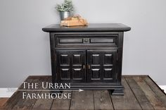Hand painted using General Finishes Lamp Black and finished with just the perfect about of light distressing. A perfect nightstand/side table or cabinet with plenty of room to store your belongings in the bedroom, living room or entryway.