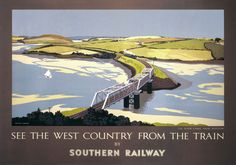 "'SEE THE WEST COUNTRY FROM THE TRAIN': travel poster 'produced for the Southern Railway (SR) to help promote rail travel to Cornwall using the strapline ""See The West Country From The Train"". The poster shows a steam train approaching the girder bridge over Little Petherick Creek, a tributary of the River Camel joining Padstow and Wadebridge. Artwork by Eric Hesketh Hubbard who studied art at Heatherleys, Croydon School of Art and Chelsea Polytechnic.' ✫ღ⊰n"