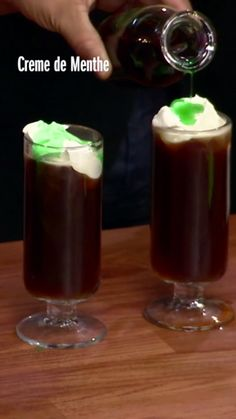 Creme de menthe gives Geoffrey's Irish Coffee a touch of St. Paddy green.