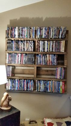 New Dvd Storage Ideas Wall Tv Stands Ideas Dvd Storage Case, Paper Storage, Media Storage, Storage Units, Record Storage, Storage Cabinets, Storage Baskets, Wall Tv Stand, Diy Tv Stand
