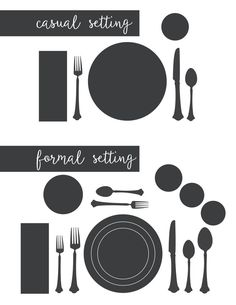 I need this for the holidays! It's a printable for the proper way to set a casual table setting and a formal table setting. by rosella Casual Table Settings, Beautiful Table Settings, Setting Table, Proper Table Setting, Dining Etiquette, Etiquette And Manners, Table Manners, Christmas Table Settings, Table Set Up