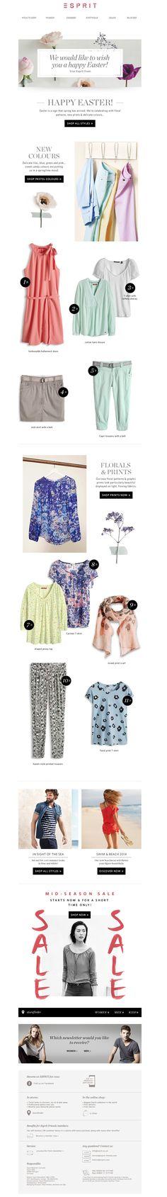 #newsletter Esprit 04.2014 The mid-season SALE starts now || Floral prints & delicate colours!