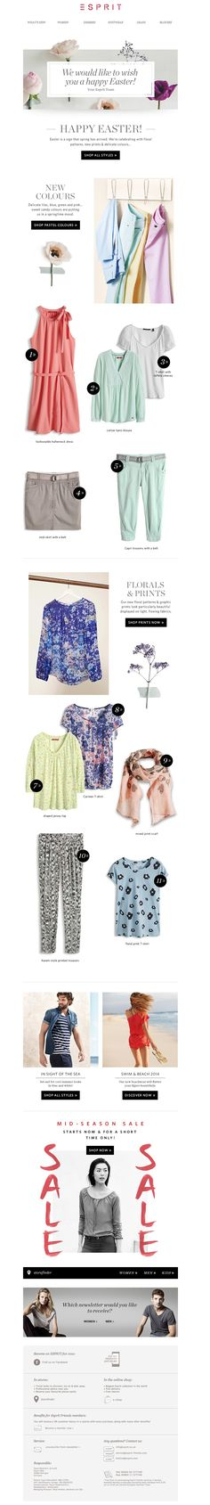 #newsletter Esprit 04.2014 The mid-season SALE starts now || Floral prints & delicate colours!