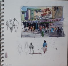 Watercolor Sketchbook, Artist Sketchbook, Watercolor Art, Architecture Sketchbook, Moleskine, Etch A Sketch, Dark Drawings, Nature Sketch, Sketch Painting