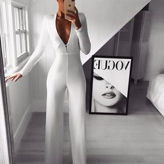 Commuting V Neck Long Sleeve Splicing Pure Colour Jumpsuit - Jumpsuit - Frauen Classy Outfits, Cool Outfits, Casual Outfits, Fashion Outfits, Summer Outfits, Jumpsuit Lang, Elegantes Outfit Frau, Badass Outfit, Pinterest Fashion