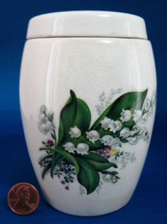 Tea Caddy Canister Vintage English Lily Of The Valley Vintage 1940s