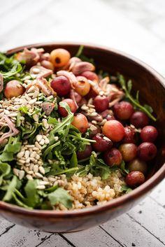 Arugula, Brown Rice & Roasted Grape Salad with Balsamic-Thyme Vinaigrette