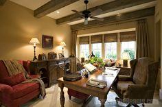 Window Treatments - roman shades on each window with drape overlay. Photo from FauxWoodBeams.com