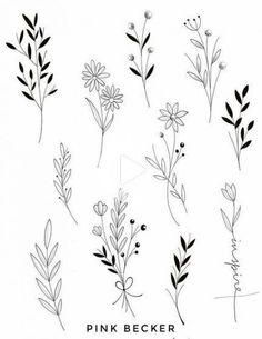 Botanisches Tattoo, Tattoo Style, Doodle Tattoo, Tattoo Drawings, Tattoo Sketches, Doodle Doodle, Tattoo Blog, Floral Tattoo Design, Flower Tattoo Designs
