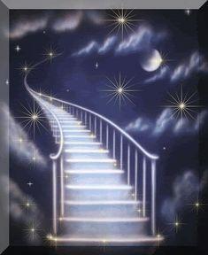 immagini glitter di scala che sale nel cielo verso la luna