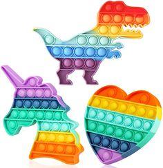 Amazon.com : Pop it toys Sensory Toys For Autism, Autism Learning, Figet Toys, Pop Toys, Pop It Toy, Cool Fidget Toys, Rainbow Bubbles, Wooden Bow, Cinderella Party