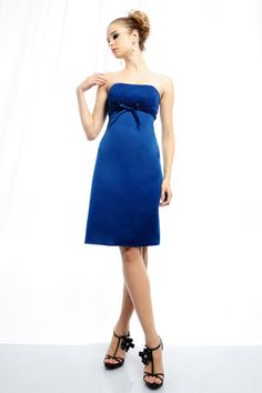 A-line Strapless Gathered Bodice Waistband with Bow Detail Satin Cocktail Dress-soc0066, $162.95