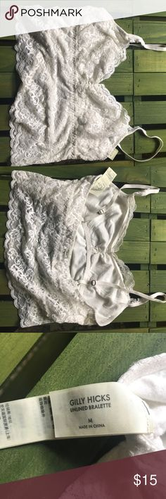 Pacsun Gilly Hicks white lace bralette Adorable and feminine white lace bralette perfect for under sweaters or loose shirts. In excellent condition, worn maybe three times. Unlined but in a style similar to a tank with a bra shelf. Gilly Hicks Intimates & Sleepwear