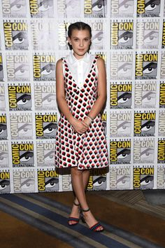 Stranger Things' Millie Bobby Brown wearing a Victoria Beckham mini dress at Comic-Con 2017