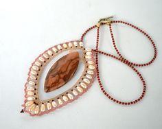 Marble and pearl leaf pendant N681 by Fleur-de-Irk.deviantart.com on @DeviantArt
