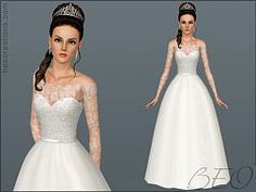 Sims 3 wedding, dress, bride, lace