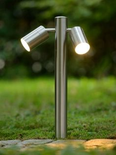 LUCIDE Arne LED Stolpe Dobbel 50 cm - Designbelysning.no Outdoor Lamp Posts, Outdoor Post Lights, Luminous Intensity, Bollard Lighting, Lantern Post, Fluorescent Lamp, Lumiere Led, Front Yards