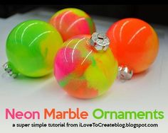 DIY Neon Marble Ornaments