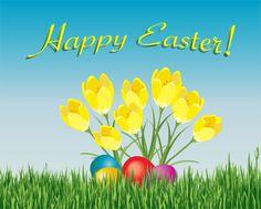 iCLIPART - An Easter card depicting coloured eggs hidden under spring crocuses.