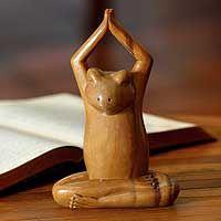Wood sculpture, 'Toward the Sky Yoga Frog'