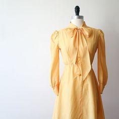 Vintage Dress Japanese Handmade Dress Yellow