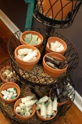 While at the home improvement store, you could visit the garden area to create this display for grouping small items.