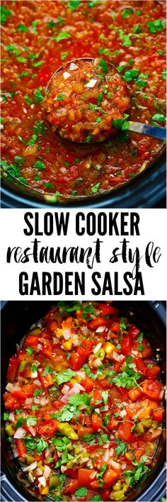 Slow Cooker Restaurant Style Garden Salsa has so many delicious and fresh ingredients and uses up all of those garden tomatoes. It is so addicting you won't be able to get enough! It is also perfect f (Fresh Ingredients Recipes) Crock Pot Slow Cooker, Crock Pot Cooking, Slow Cooker Recipes, Crockpot Recipes, Healthy Recipes, Slow Cooker Salsa, Salsa Guacamole, Fingerfood Party, Mexican Food Recipes